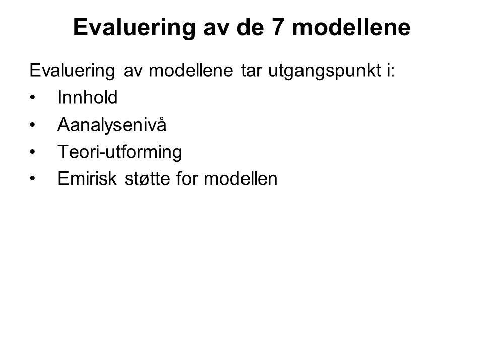 Evaluering av de 7 modellene