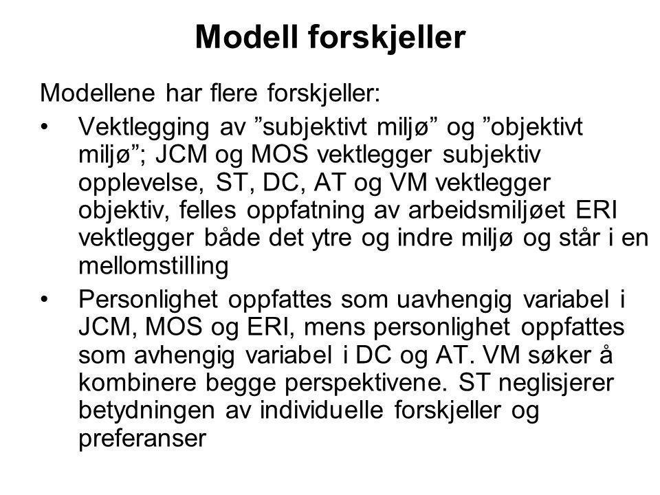 Modell forskjeller Modellene har flere forskjeller: