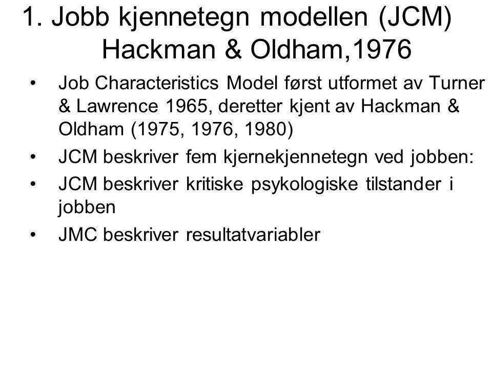 1. Jobb kjennetegn modellen (JCM) Hackman & Oldham,1976
