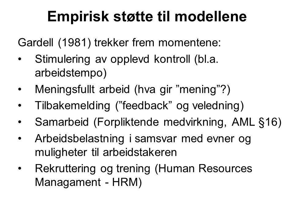 Empirisk støtte til modellene