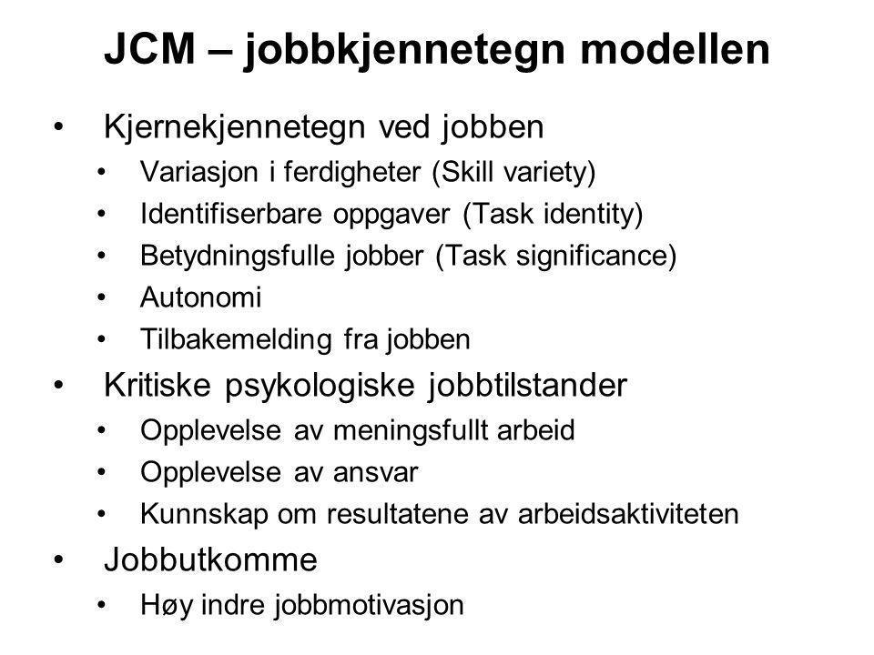 JCM – jobbkjennetegn modellen
