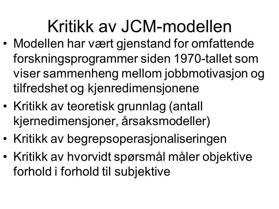 Kritikk av JCM-modellen