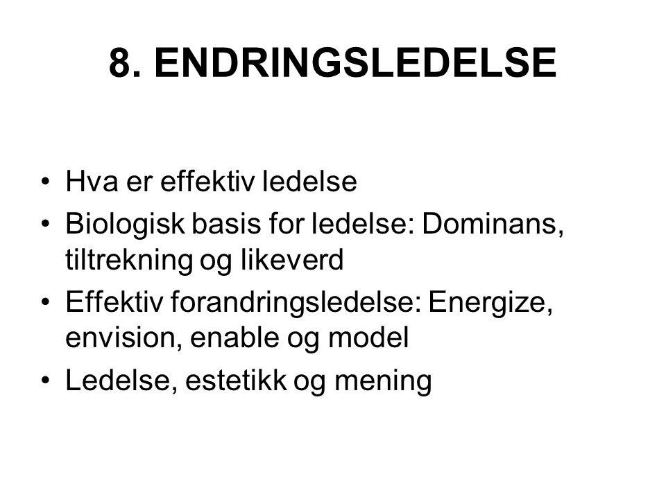 8. ENDRINGSLEDELSE Hva er effektiv ledelse