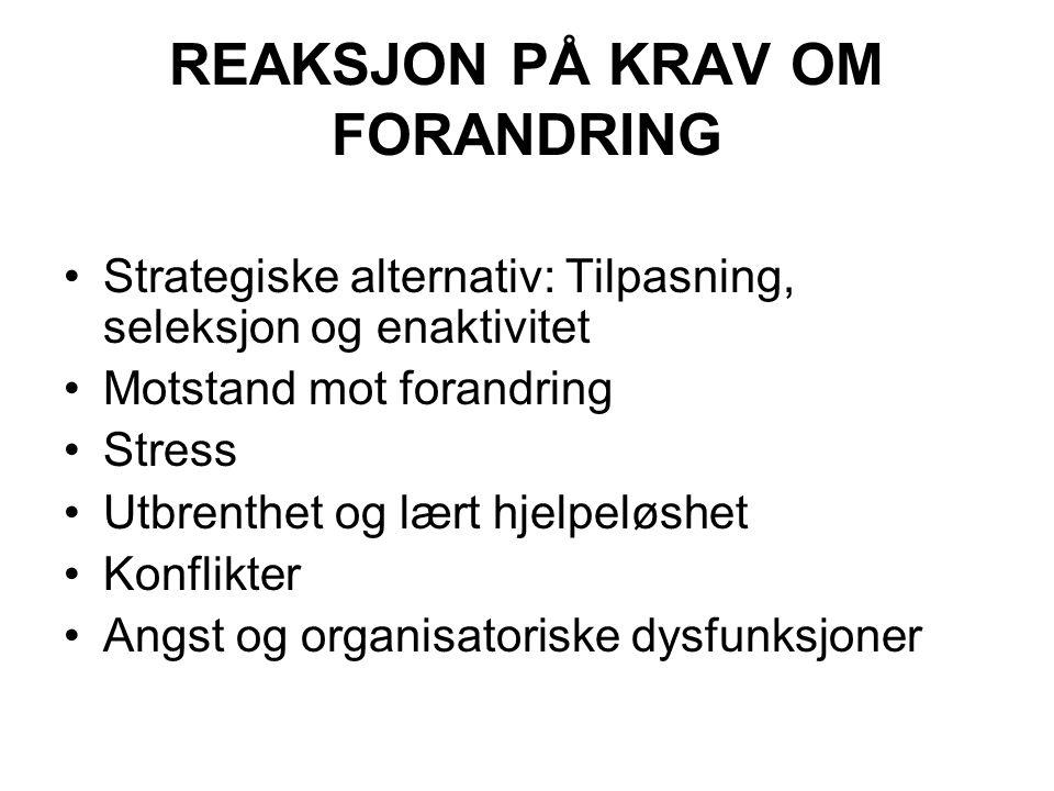 REAKSJON PÅ KRAV OM FORANDRING