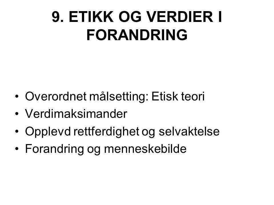 9. ETIKK OG VERDIER I FORANDRING