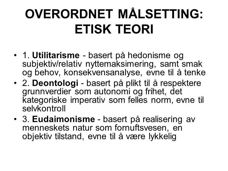 OVERORDNET MÅLSETTING: ETISK TEORI