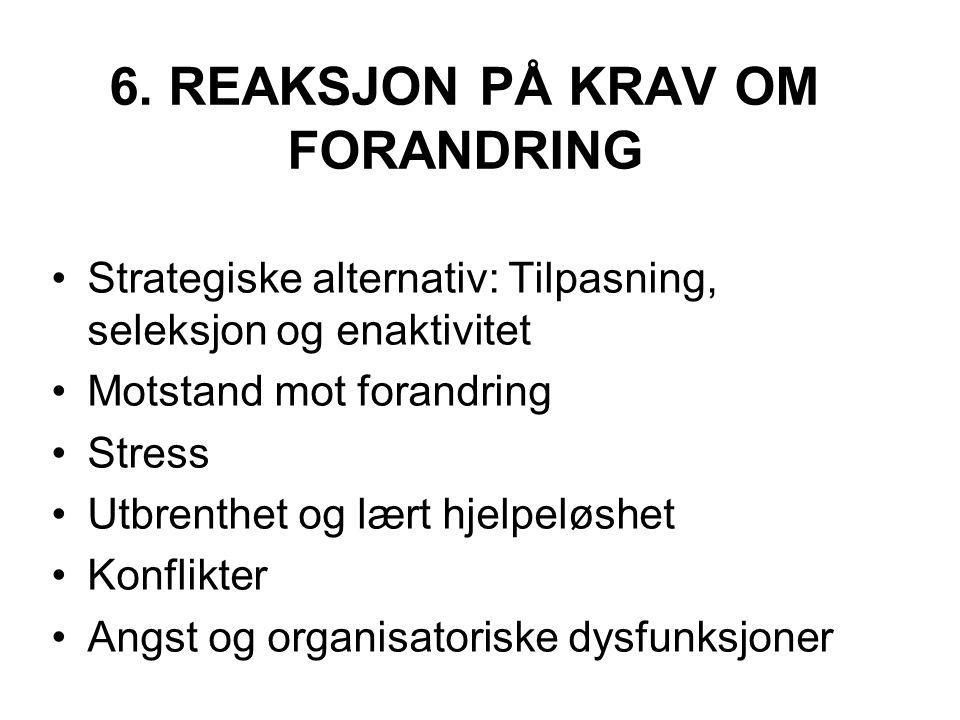 6. REAKSJON PÅ KRAV OM FORANDRING