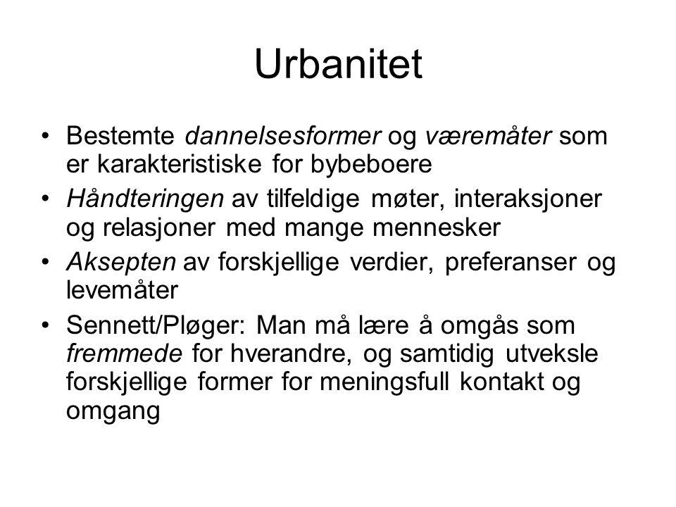 Urbanitet Bestemte dannelsesformer og væremåter som er karakteristiske for bybeboere.