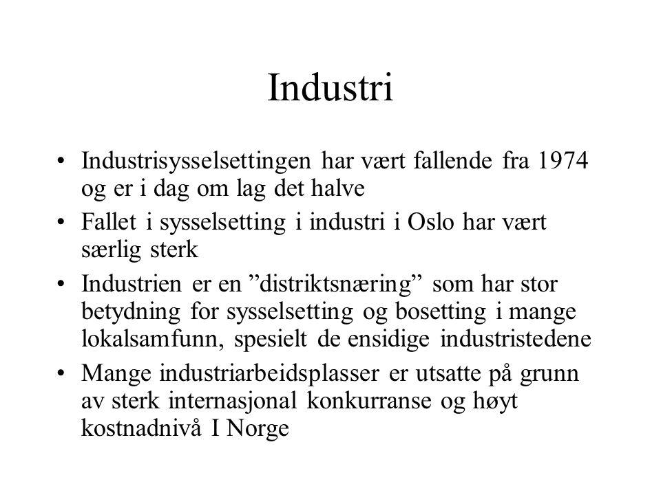 Industri Industrisysselsettingen har vært fallende fra 1974 og er i dag om lag det halve.