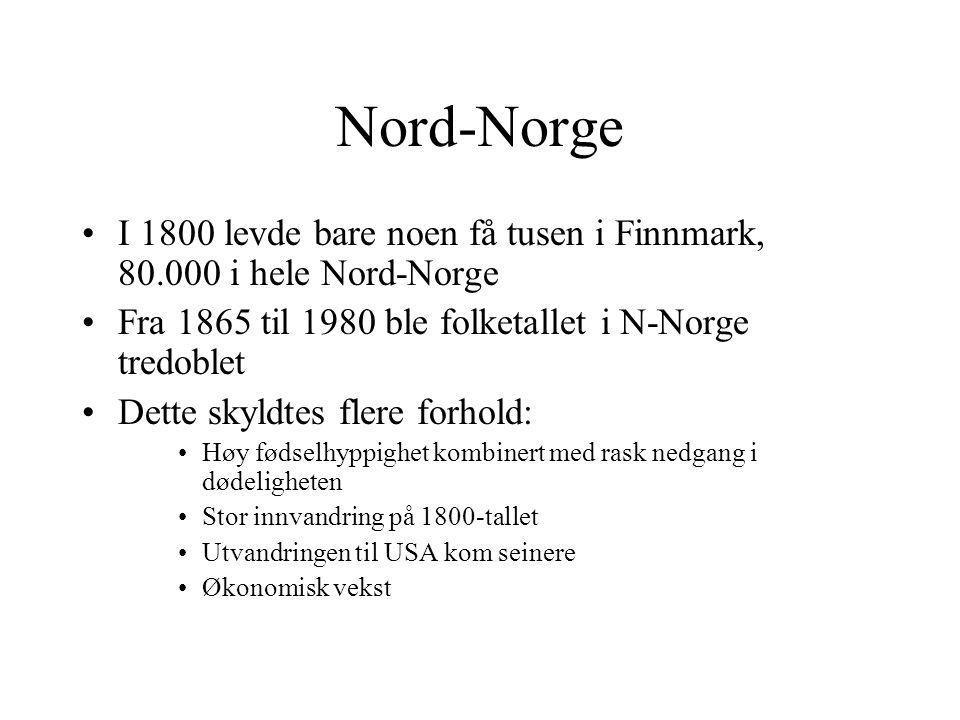 Nord-Norge I 1800 levde bare noen få tusen i Finnmark, 80.000 i hele Nord-Norge. Fra 1865 til 1980 ble folketallet i N-Norge tredoblet.