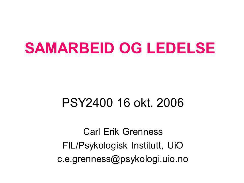 FIL/Psykologisk Institutt, UiO
