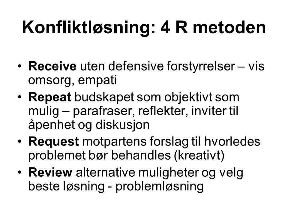 Konfliktløsning: 4 R metoden