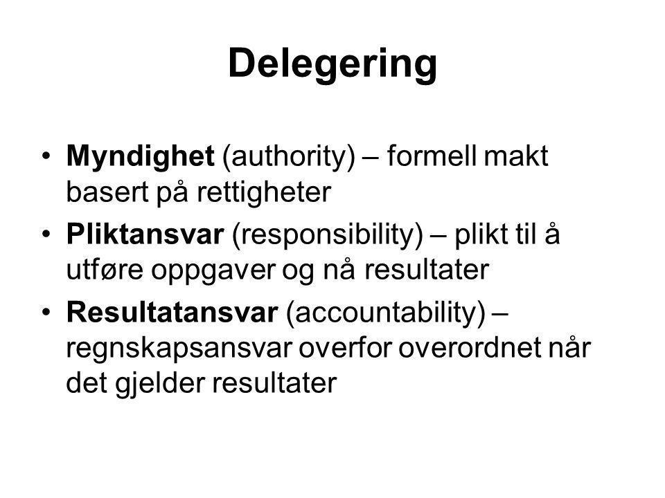 Delegering Myndighet (authority) – formell makt basert på rettigheter