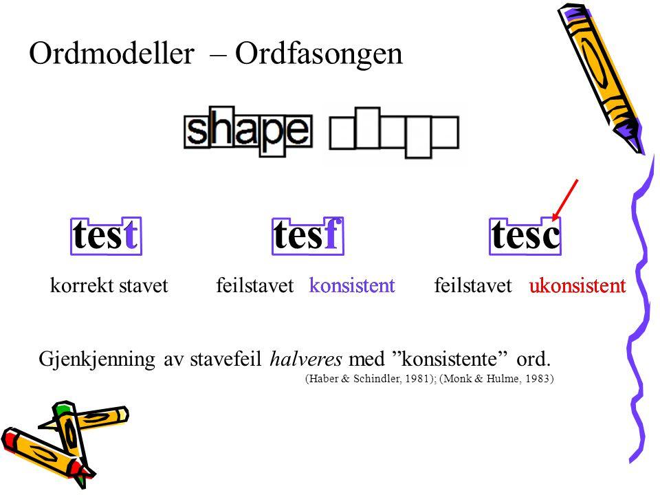 test t tesf f tesc Ordmodeller – Ordfasongen korrekt stavet feilstavet