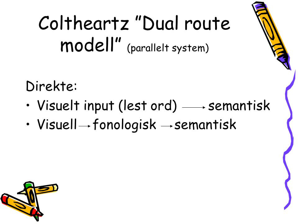Coltheartz Dual route modell (parallelt system)