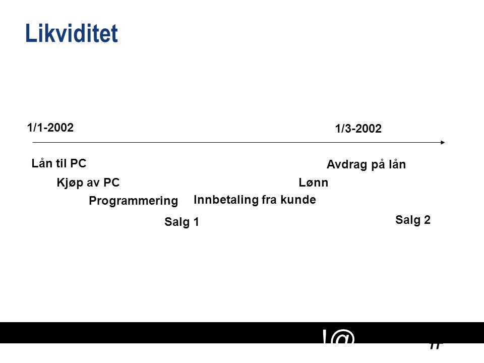 Likviditet 1/1-2002 1/3-2002 Lån til PC Avdrag på lån Kjøp av PC Lønn