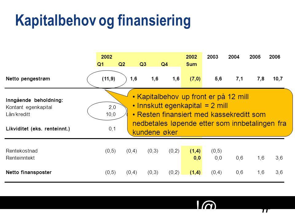 Kapitalbehov og finansiering