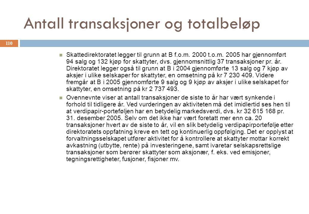 Antall transaksjoner og totalbeløp