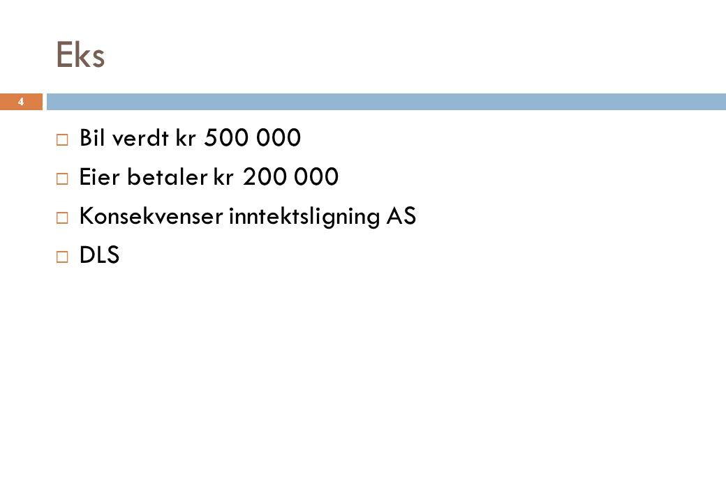 Eks Bil verdt kr 500 000 Eier betaler kr 200 000