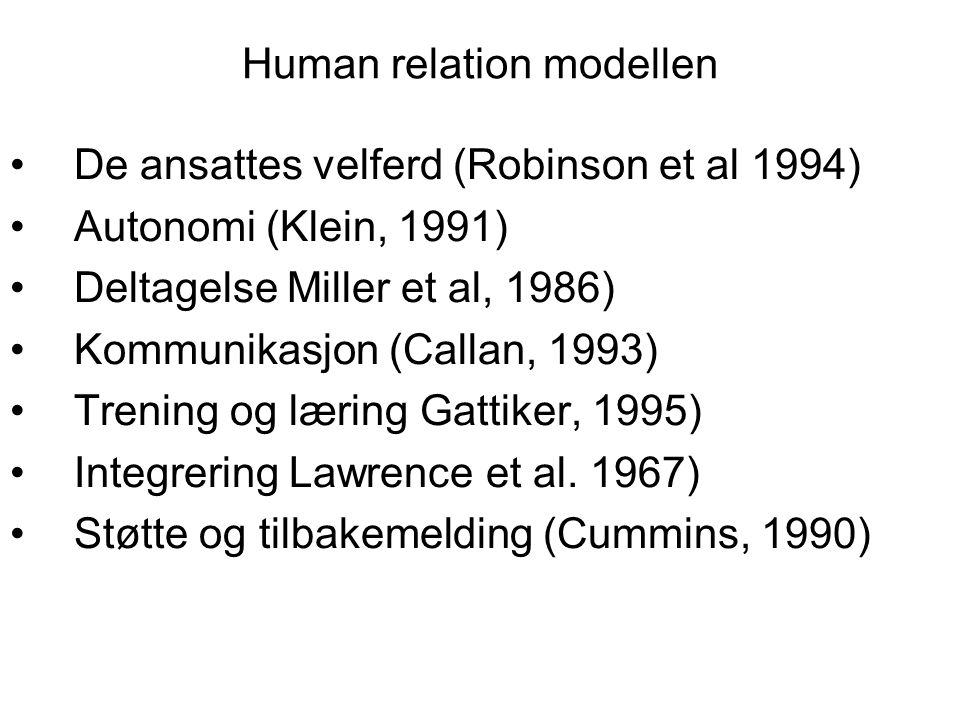 Human relation modellen