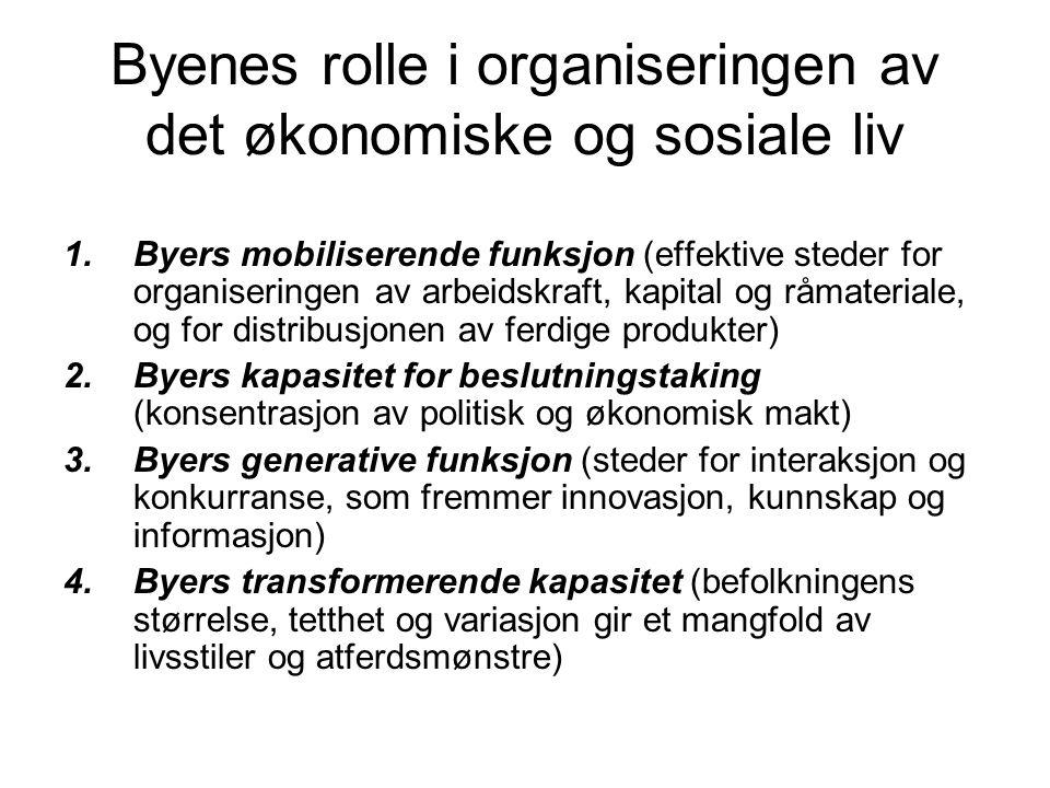 Byenes rolle i organiseringen av det økonomiske og sosiale liv