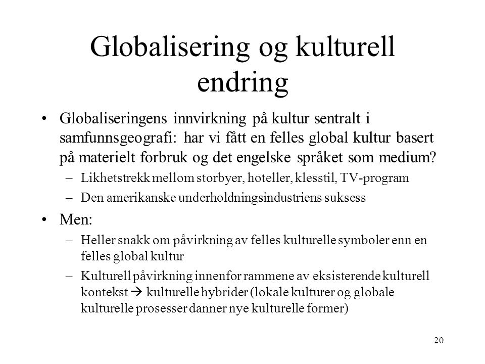 Globalisering og kulturell endring