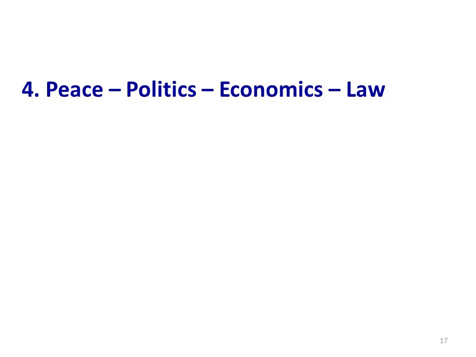4. Peace – Politics – Economics – Law