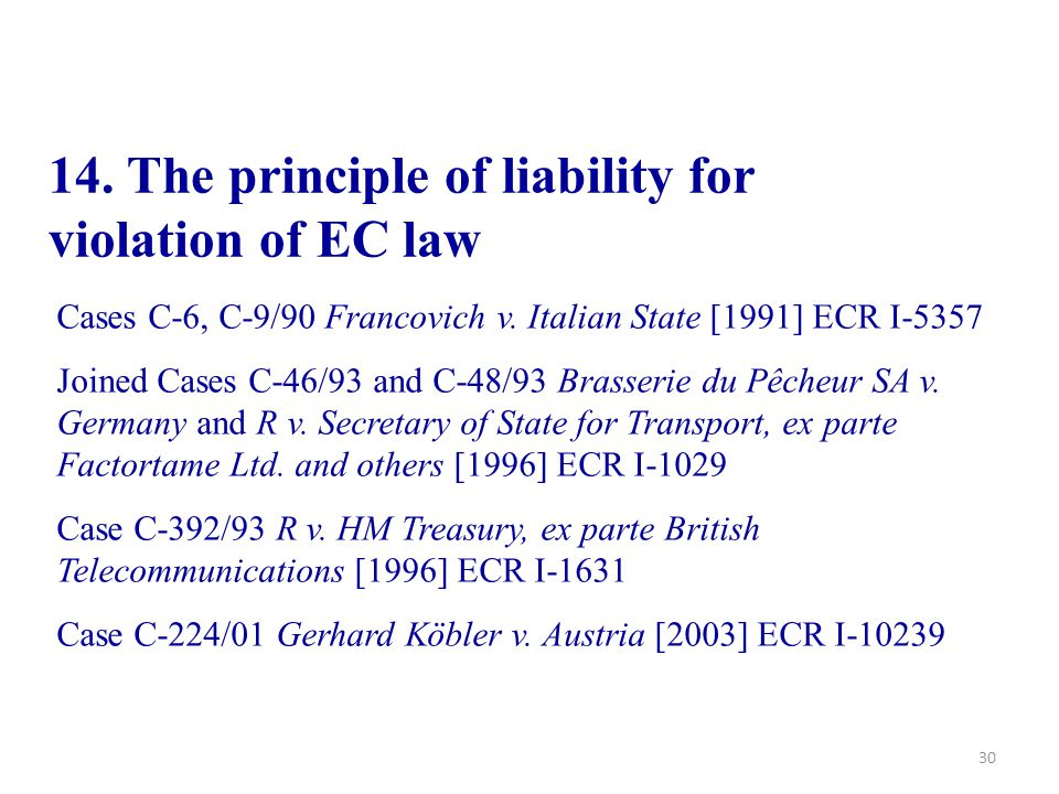14. The principle of liability for violation of EC law