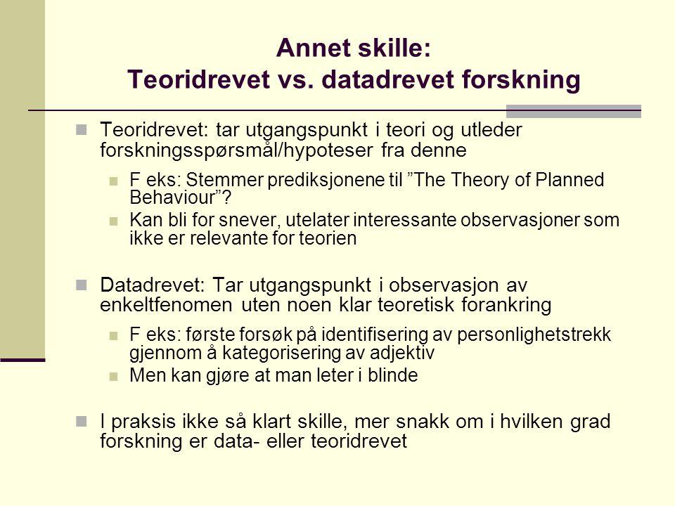 Annet skille: Teoridrevet vs. datadrevet forskning