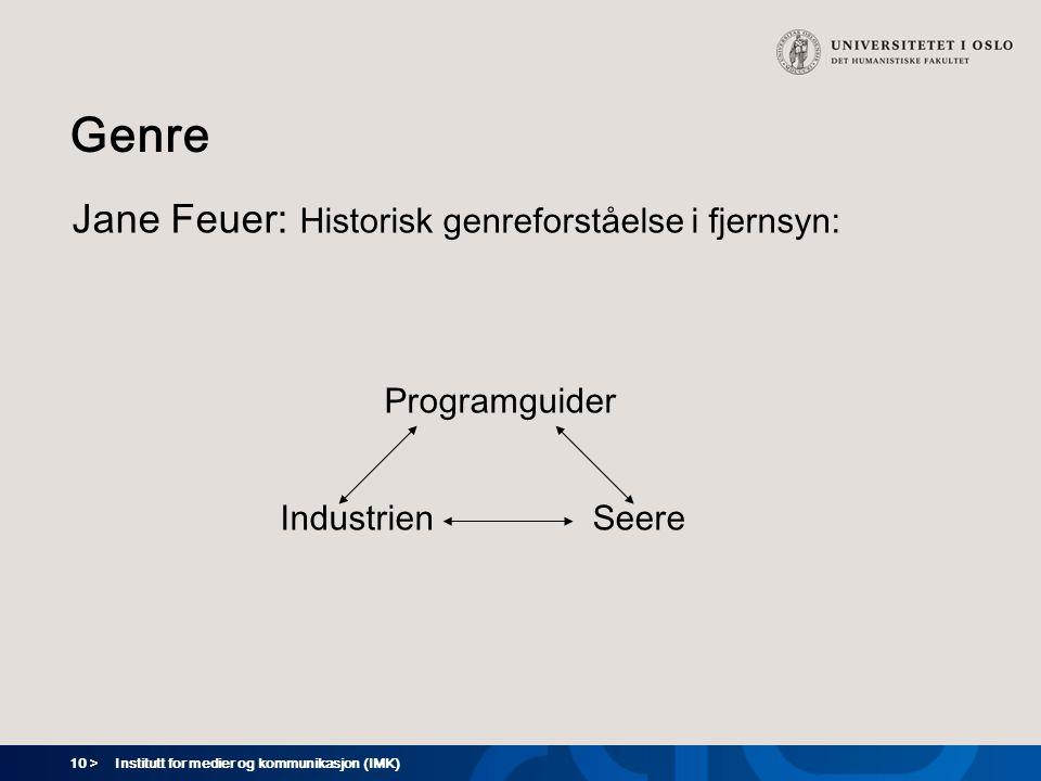 Genre Jane Feuer: Historisk genreforståelse i fjernsyn: Programguider
