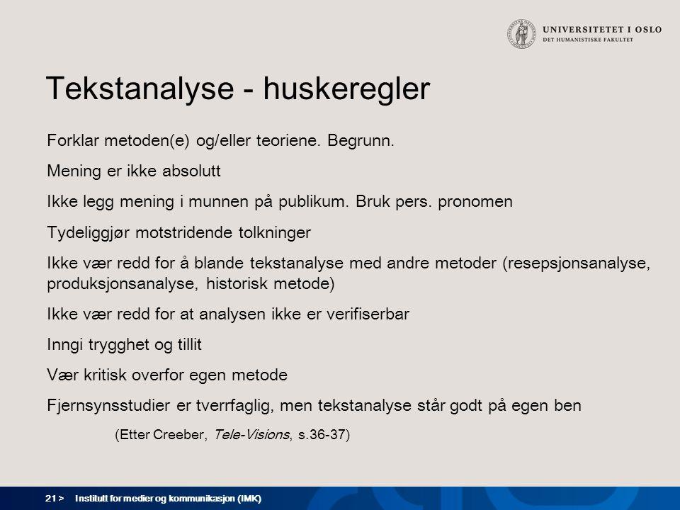 Tekstanalyse - huskeregler