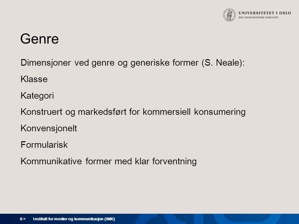 Genre Dimensjoner ved genre og generiske former (S. Neale): Klasse