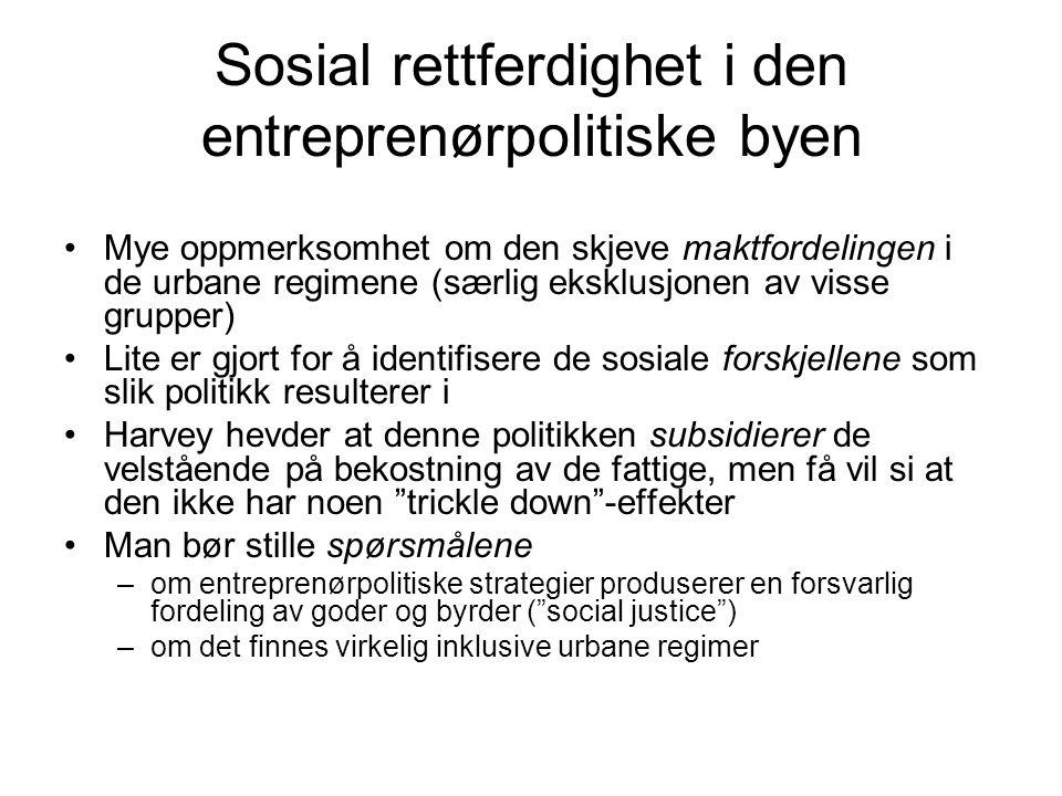 Sosial rettferdighet i den entreprenørpolitiske byen