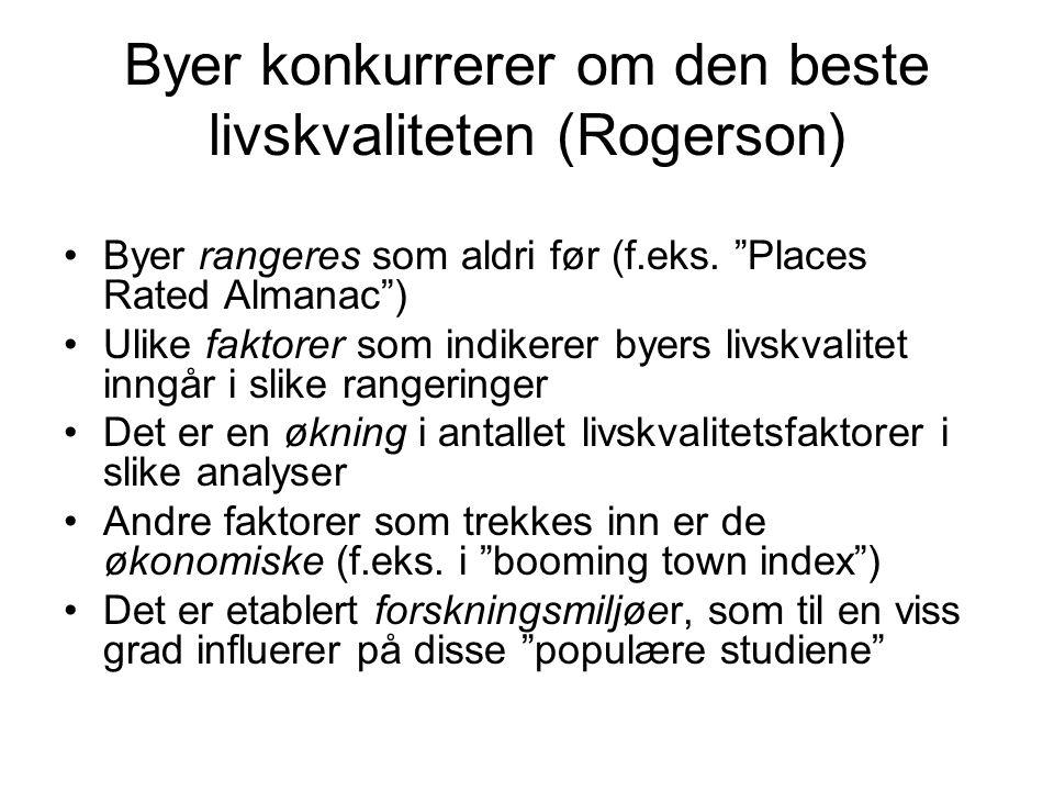 Byer konkurrerer om den beste livskvaliteten (Rogerson)