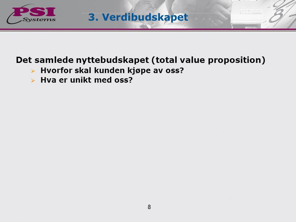 3. Verdibudskapet Det samlede nyttebudskapet (total value proposition)