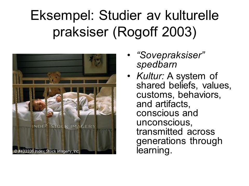 Eksempel: Studier av kulturelle praksiser (Rogoff 2003)