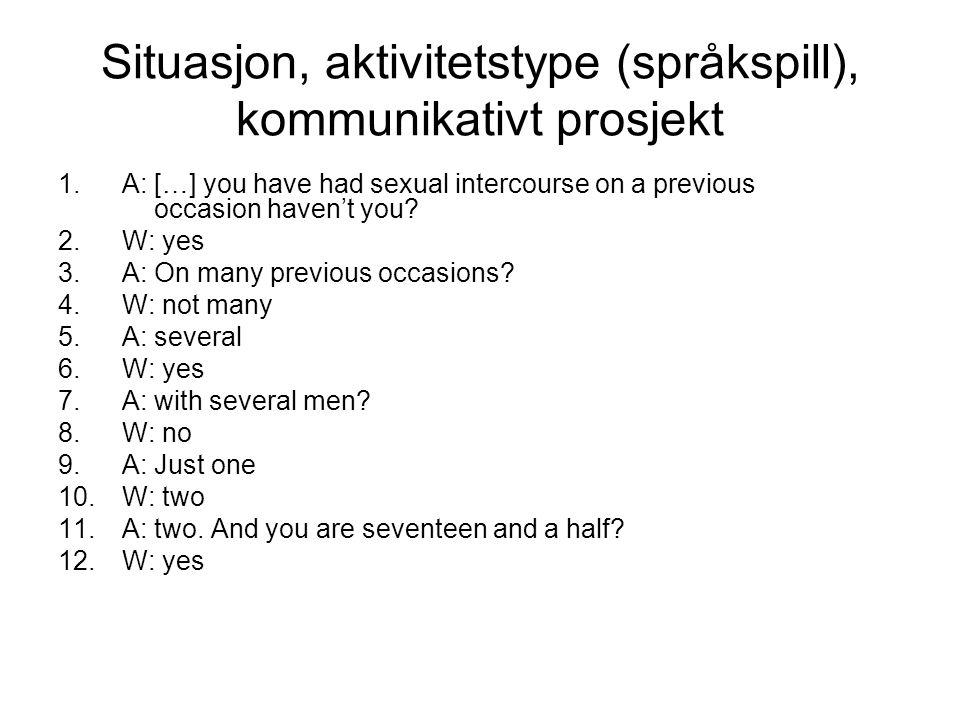 Situasjon, aktivitetstype (språkspill), kommunikativt prosjekt