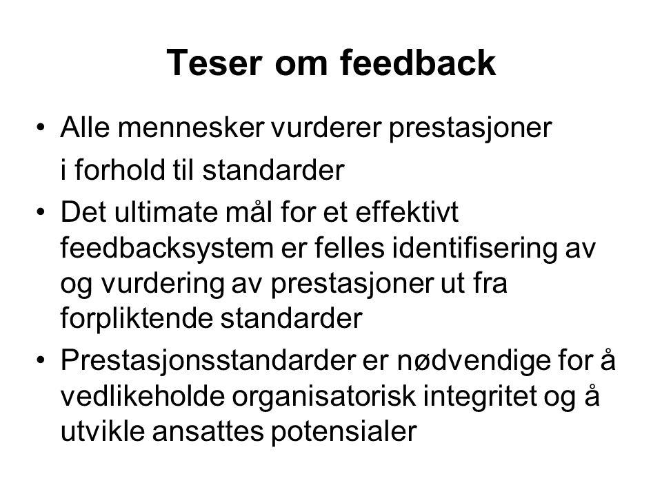 Teser om feedback Alle mennesker vurderer prestasjoner
