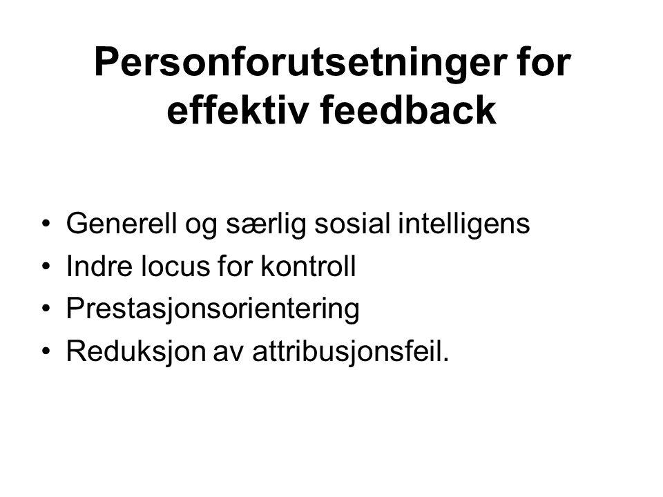 Personforutsetninger for effektiv feedback