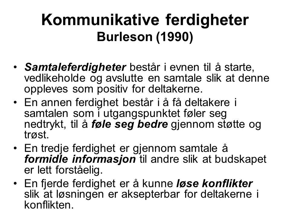 Kommunikative ferdigheter Burleson (1990)