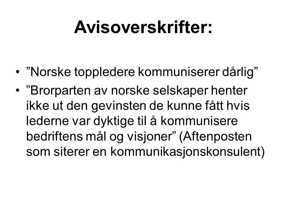 Avisoverskrifter: Norske toppledere kommuniserer dårlig