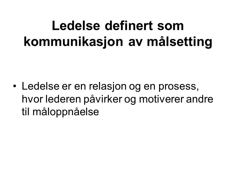 Ledelse definert som kommunikasjon av målsetting