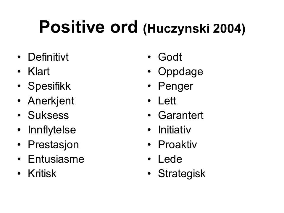 Positive ord (Huczynski 2004)