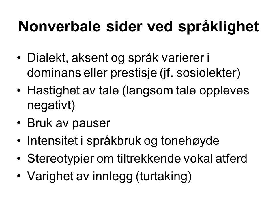 Nonverbale sider ved språklighet