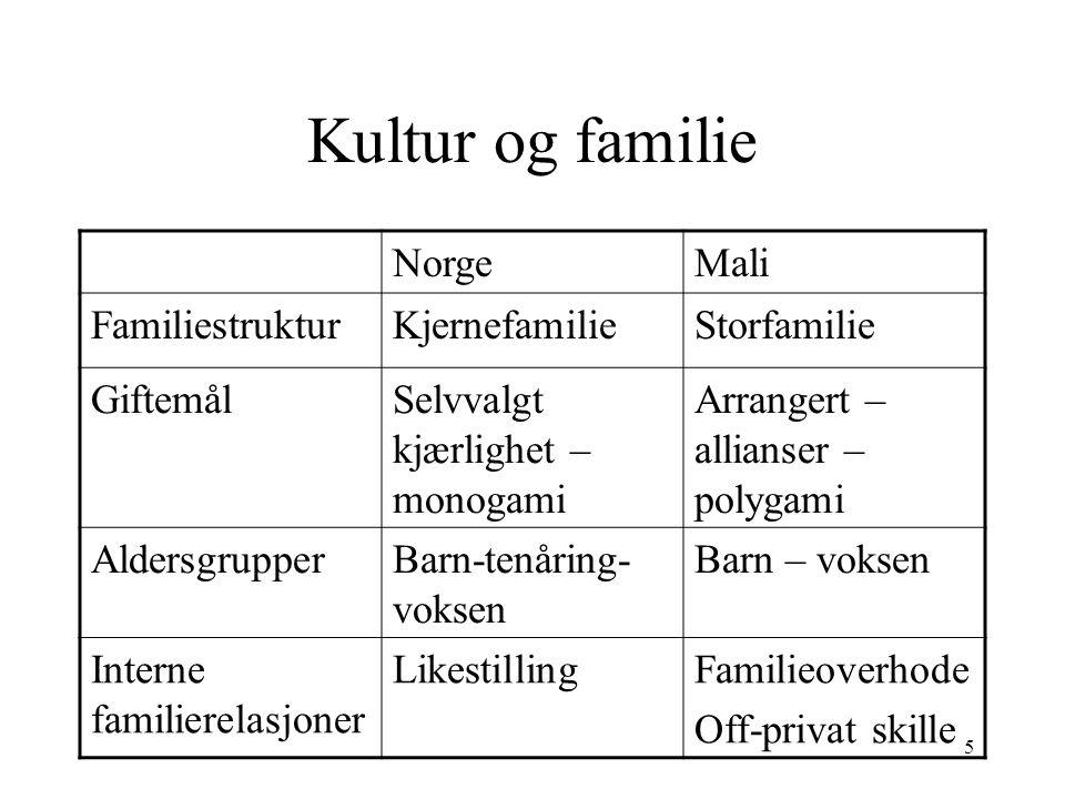 Kultur og familie Norge Mali Familiestruktur Kjernefamilie Storfamilie