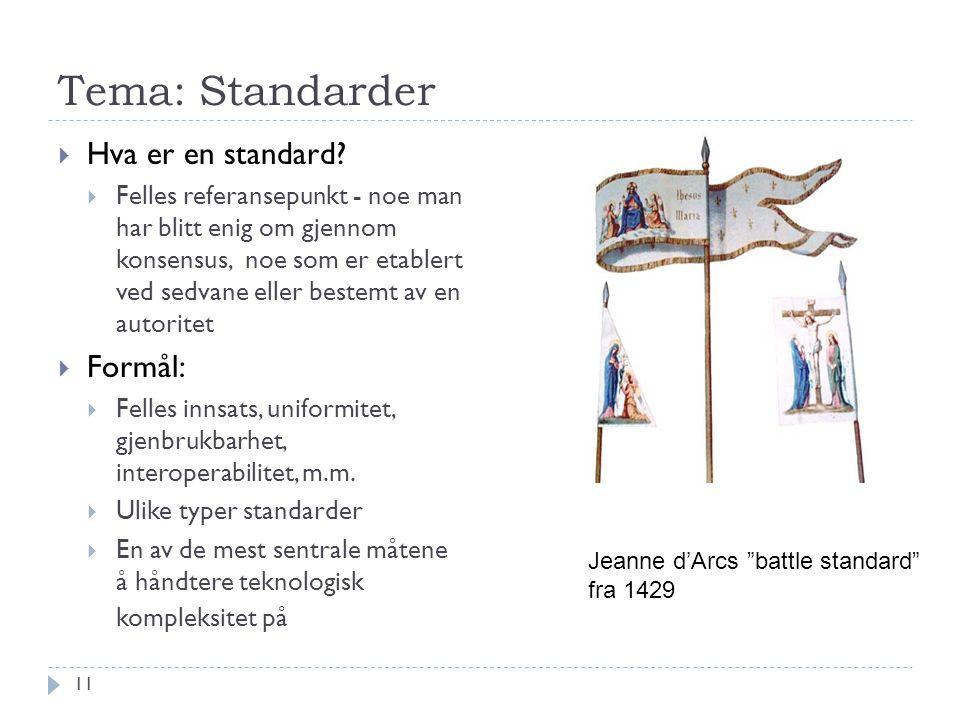 Tema: Standarder Hva er en standard Formål: