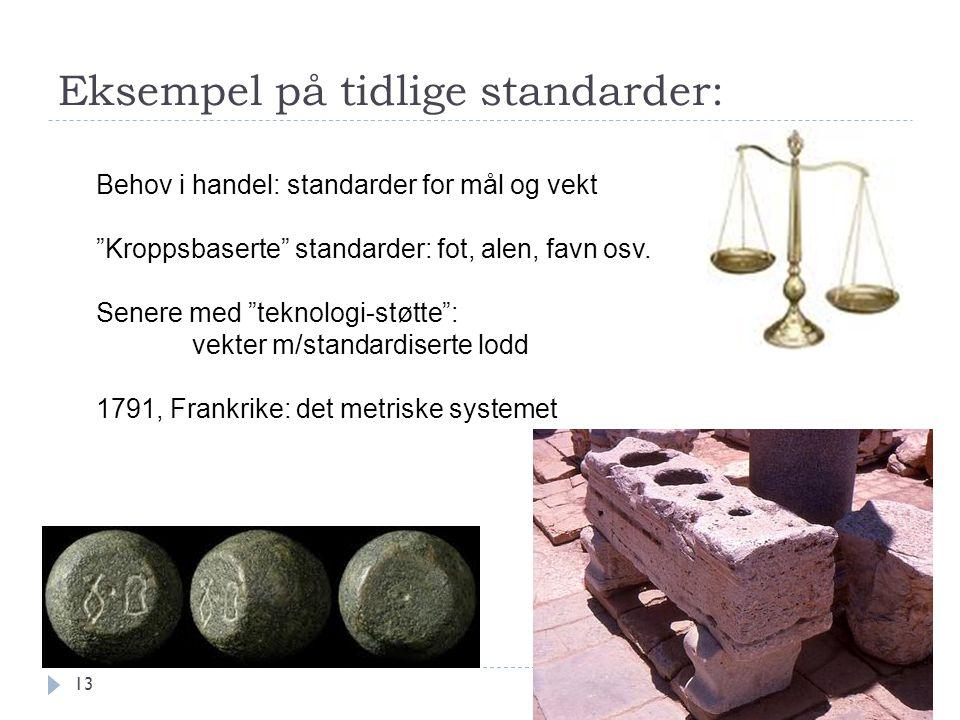 Eksempel på tidlige standarder: