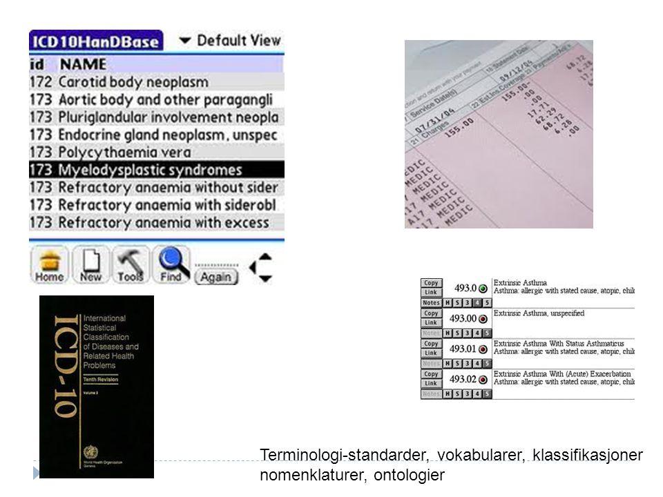 Terminologi-standarder, vokabularer, klassifikasjoner
