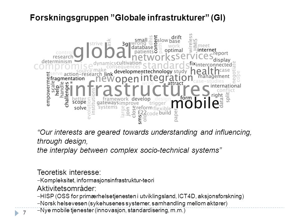Forskningsgruppen Globale infrastrukturer (GI)