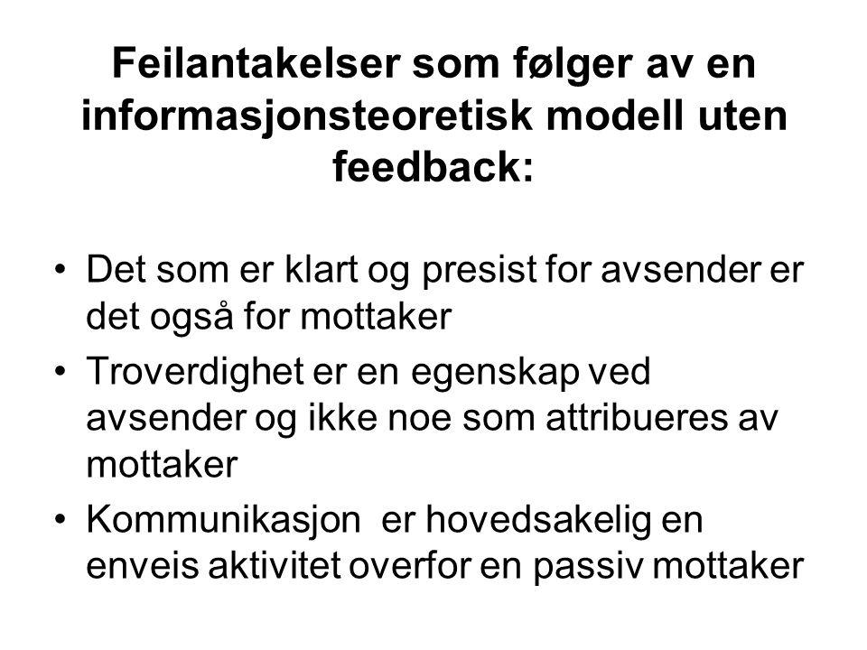 Feilantakelser som følger av en informasjonsteoretisk modell uten feedback: